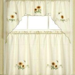 Kitchen Cafe Curtains Types Of Countertops 3 件米黄色向日葵和蝴蝶厨房 咖啡馆窗帘层和围巾套装 价格报价图片