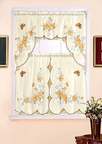 kitchen valences tile flooring kashi home 3 件套厨房窗帘套装印有图案 含帷幔和2 片 花卉图案