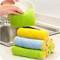 Kitchen Dish Towels Vent 洗碗巾 百洁布 厨房清洁 厨具 亚马逊 20条 超细纤维双面吸水抹布加厚不掉毛不沾油洗碗巾厨房洗碗布厨房清洁布家居清洁布 10条混色 吸水抹布