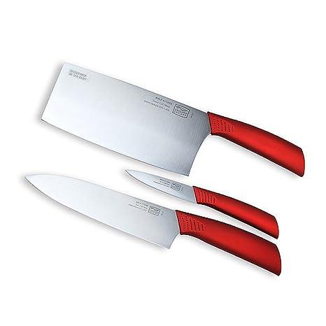red kitchen knife set backsplash trends world 康宁芝加哥刀具套装波尔多红系列不锈钢刀具三件套厨房菜刀