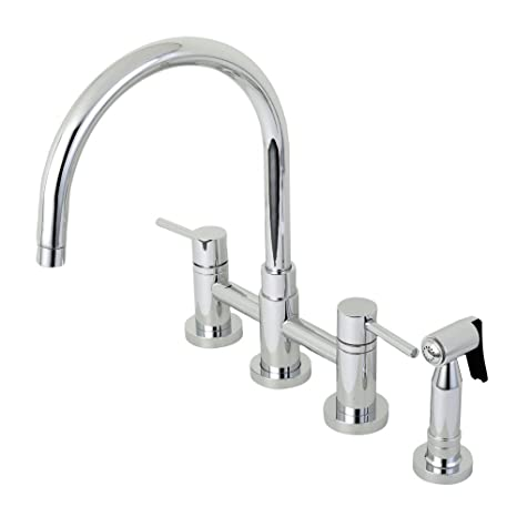 kitchen side sprayer how to build a cabinet kingston brass ks8271dlbs concord 20 32cm 中心套装鹅颈厨房水龙头带黄 中心套装鹅颈厨房水龙头带黄铜侧