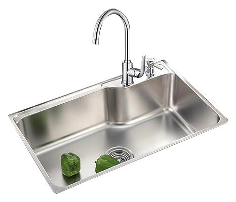 kitchen sink amazon taps moen 摩恩水槽单槽304不锈钢厨房水槽套餐加厚洗菜盆洗碗厨盆22178 摩恩水槽单槽304不锈钢厨房水槽套餐加厚洗菜盆