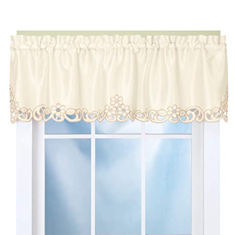 blue kitchen valance centerpiece for table collections etc 优雅滚轴切割窗帷幔奶油色39868 crem