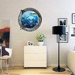 Kitchen Wall Art Decor White Cabinets Design 3d View The Evil Sharks 潜水艇底海洋可移除乙烯基墙贴纸艺术装饰 适用 潜水艇底海洋可移除乙烯基墙贴纸
