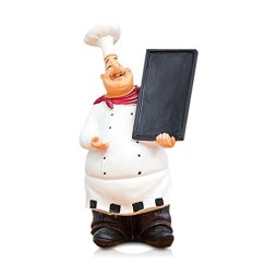 Kitchen Chef Decor Counters Quartz Fishmm 树脂装饰装饰品 厨房装饰 烹饪雕像 法国厨师小雕像带托盘 法国厨师小雕像