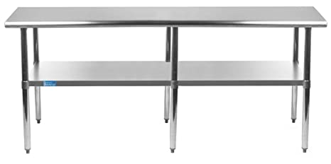 zinc kitchen table commercial equipment list amgood 不锈钢架下工作桌 厨房岛食品预备桌 洗衣车库实用长凳 nsf 洗衣车库实用