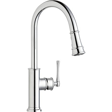 stainless steel kitchen faucet with pull down spray refinishing cabinets white elkay explore 单杠杆下拉式喷雾厨房水龙头镀铬色lkec2031cr
