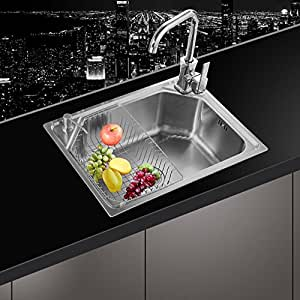 kitchen sink amazon range reviews 不锈钢水槽 一体成型加厚拉丝单槽 厨房洗菜盆洗碗池 钢盆 (6045y(配8001豪华套餐)): 亚马逊中国: 厨具