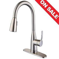 Stainless Steel Kitchen Faucet With Pull Down Spray Island Granite Top 厨房水龙头 单手柄厨房水槽水龙头 带拉式喷雾器 高弧拉丝镍不锈钢拉出 高弧