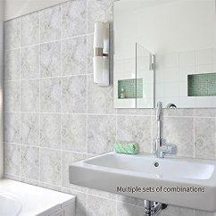 Kitchen Tile Murals Design Stores Amazingwall 白色摇滚瓷砖墙贴艺术壁画贴纸自粘浴室厨房装饰5 91x5 91 10