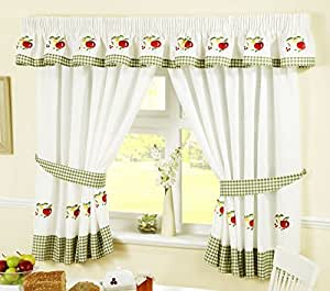 fruit kitchen curtains backsplash for ideas 水果铅笔褶厨房窗帘和背带 红色 白色 46 x 42 英寸红色 白色46 54 4 已加入购物车