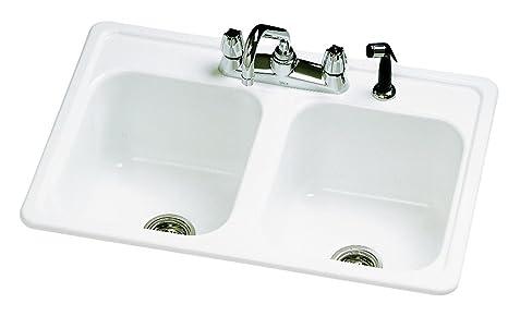 kitchen sink 33 x 22 commercial trash can 起重机水管53464 arlington 英寸搪瓷钢双碗厨房水槽加喷器 白色 英寸搪瓷钢双碗厨房水槽加喷