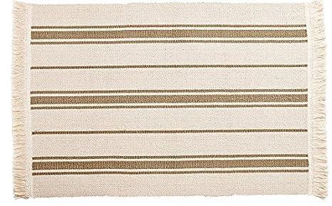 kitchen rugs amazon 4 person table ikea 平织区域厨房地毯条纹棉米色灰褐色抱垫 亚马逊中国