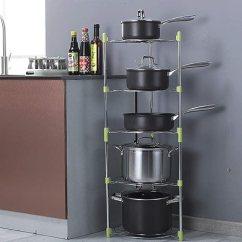 Kitchen Pot Racks Restaurant Flooring 下单立减15元 赞居厨房用品整理锅架多功能厨房置物架收纳放锅架 五层 赞居厨房用品整理锅架多
