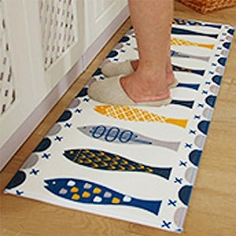 kitchen rugs amazon braided chair pads for chairs a b crew 现代厨房地毯可水洗浴室小地毯厨房防滑地毯鱼17 72 x47 24 quot
