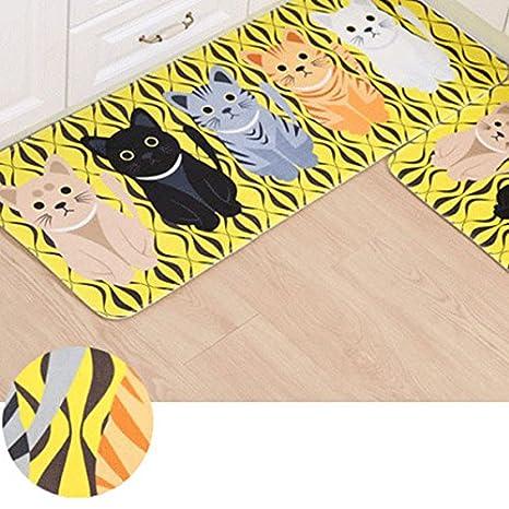 yellow kitchen rugs tile flooring ideas essort 可爱小地毯 卡通猫地毯法兰绒材质猫咪小地毯黄色厨房长垫适用于 卡通猫地毯法兰绒材质猫咪小地毯黄色