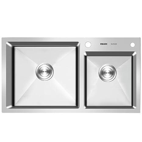 kitchen sink amazon cabinet molding 清仓 kegoo 科固k10004 厨房洗菜盆手工水槽双槽304不锈钢拉丝洗碗池 厨房洗菜盆手工水槽双槽304