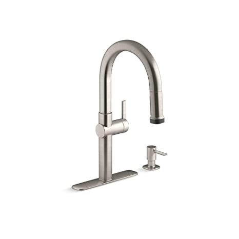 stainless steel kitchen faucet with pull down spray ethan allen table kohler rune 单手柄下拉式喷雾器厨房水龙头 生动的不锈钢