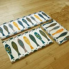 Kitchen Rug Runners Simple Cabinets 地垫 布艺装饰 家居 亚马逊 出口欧美款 芦苇进门地垫门垫门厅入户脚垫浴室厨房卫生间长条吸水防滑垫地毯 45 120cm 象形鱼