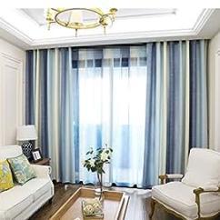 Grommet Kitchen Curtains Best Appliance Brand Aifish 条纹索环半遮光窗帘84 适用于庭院门经典蓝色米色 象牙色条纹窗帘