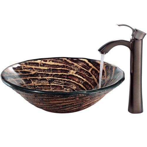oil rubbed bronze kitchen sink curtains sets vigo vgt196 油面青铜色巧克力色漩涡玻璃容器水槽和水龙头套装 价格报价图片 亚马逊中国