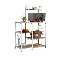 Kitchen Work Station Vintage Appliances Shuhome 多功能厨房烘焙机架实用微波炉支架收纳车工作站架white Maple