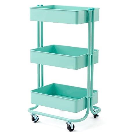 kitchen rolling cart cabinets design with islands ezoware 3 层重型储物收纳架立式架 多功能金属网篮滚动实用整理推车 多功能金属网