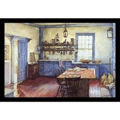 Blue Kitchen Chairs Wall Tiles For Deborah L Chabrian 创作的 Buyartforless 框架农舍厨房 50 80x35 56