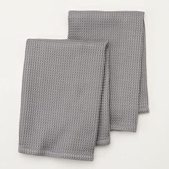 Gray Kitchen Towels Mid Level Cabinets Food Network 超细纤维厨房毛巾2 件装 灰色 价格