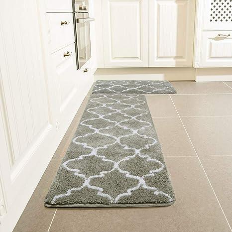 amazon kitchen mat modern cabinets 厨房小地毯套装 leevan 摩洛哥厨房舒适垫超软地毯超细纤维区域地毯防滑 摩洛哥厨房舒适垫超软地毯超细纤维