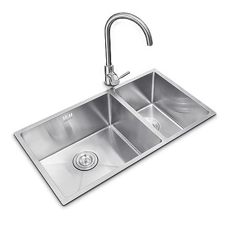 kitchen sink amazon storage cabinets higold悍高1 2mm厚钢板纯手工厨房水槽304不锈钢水槽加厚拉丝洗菜盆台上下 2mm厚钢板纯手工厨房水槽304不锈钢水槽加厚