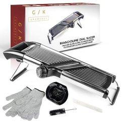 Mandolin Kitchen Slicer Flat Cabinets Gramercy Co 可调节不锈钢曼陀林食品切片机 随附一对防切割 随附