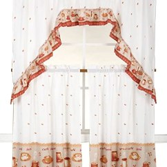 Kitchen Curtains Amazon Hanging Shelves 3 件套厨房窗帘层和围巾套装可爱图案乡村风格窗饰152 40 X 91 44 Cm 16