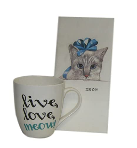 gray kitchen towels funnel live love meow 咖啡杯马克杯带灰色小猫面粉sack 厨房浴室手毛巾礼盒套装 厨房浴室手