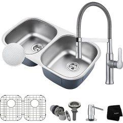 36 Inch Kitchen Sink Showrooms Kraus Kbu22e 1640 42ch Pax 底安装双碗水槽带水龙头镀铬 家居装修