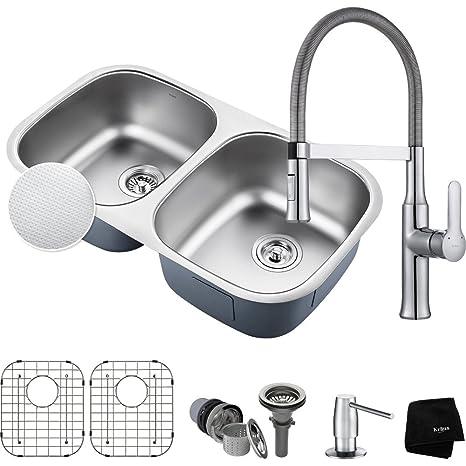 36 inch kitchen sink non scratch sinks kraus kbu22e 1640 42ch pax 底安装双碗水槽带水龙头镀铬 家居装修