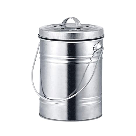 compost bin for kitchen items 厨房堆肥箱 0 8 加仑10 英寸高 镀锌纸板 包括一个炭滤清器 适用于 包括一个