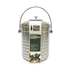 Kitchen Compost Container Water Efficient Faucet Cedar Grove 不锈钢厨房堆肥箱1 8 加仑 带木炭过滤器盖