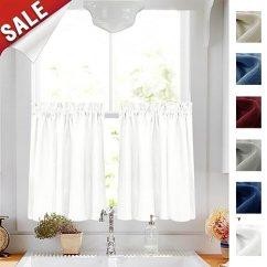 Blue Kitchen Valance White Table 半层窗帘和swags 帷幔厨房套装房间 Jinchan 价格报价图片 海外购美亚直邮