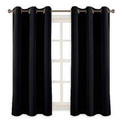 Grommet Kitchen Curtains How Much Do Cabinets Cost 适用于客厅和卧室的房间暗遮光窗帘索环顶部隔热窗帘和窗帘 2 片 黑色 适用于客厅和卧室的房间暗遮光窗帘索环顶部隔热窗帘