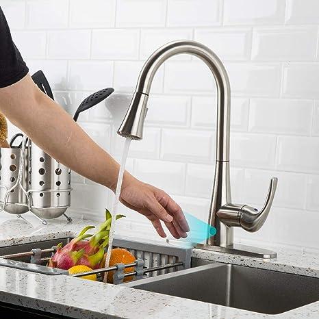motion faucet kitchen valences forious touchless 厨房水槽水龙头带拉式喷雾器 单手柄自动运动传感器 单手柄自动运动传感器厨房