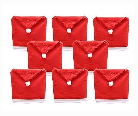red kitchen chairs granite tops fdio 圣诞老人故事帽椅套红色帽子厨房晚餐椅椅背套圣诞节节日装饰 8 件 圣诞老人故事帽椅套红色帽子厨房晚餐椅椅背套圣诞