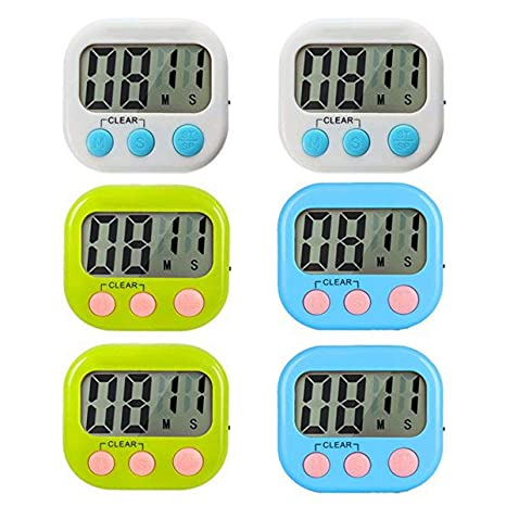 digital kitchen timers commercial refrigerator runlit 6 件装数字厨房计时器 烹饪计时器时钟 大液晶屏幕 大闹钟 强 大液晶