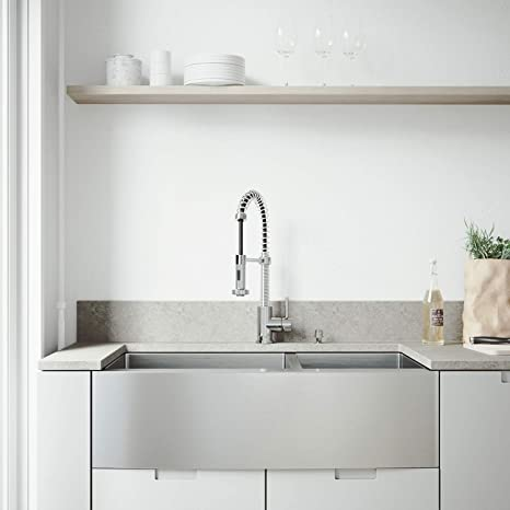 stainless steel kitchen faucet with pull down spray large island seating and storage vigo 91 44 cm farmhouse 围裙60 40 双碗16 号不锈钢厨房水槽带爱迪生铬 号不锈钢厨房水槽带