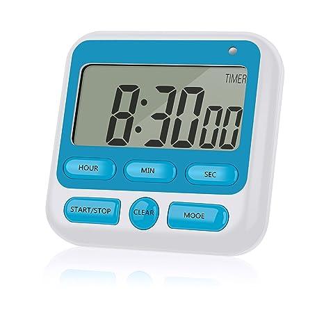 rustic kitchen clock storage bins 数字厨房计时器秒表 12 小时显示时钟 计数和计数 带大数字 响亮闹钟 带