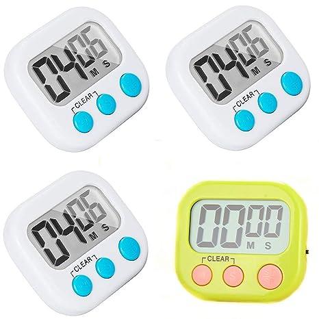 digital kitchen timers braided rugs kasmena 4 件装数字厨房计时器 大闹钟计时器 分钟秒数倒数 磁性背衬3 分钟秒