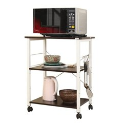 Kitchen Work Station Holiday Rugs Sogeshome 四层厨房烘焙机架实用微波炉支架存储车工作站架 黑色 白色枫