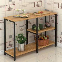 Wood Table Kitchen Island Stools For 钢木桌厨房桌切菜桌操作台双层三层桌储物桌餐桌简易长桌定做订做加固版 钢木桌厨房桌切菜桌操作台双层三层桌储