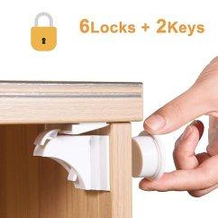 Kitchen Cabinet Latches Subway Tile Backsplash 磁性橱柜锁儿童 婴儿防烫柜抽屉锁 带3m 胶带 易于安装 6 个锁和2 个