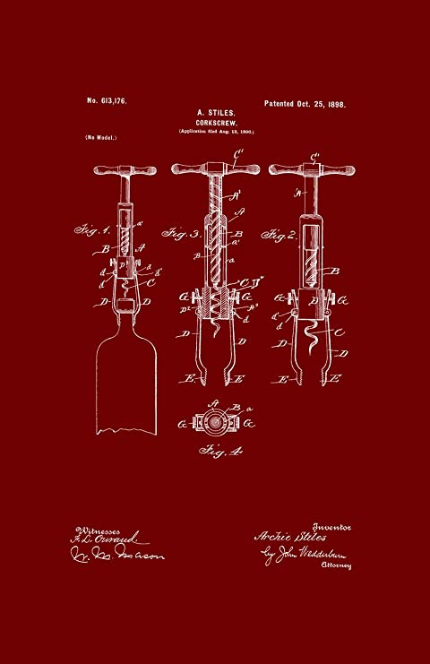 kitchen art prints modern pulls for cabinets framable 艺术the original ready to frame 装饰开瓶器厨房工具wine 11 in